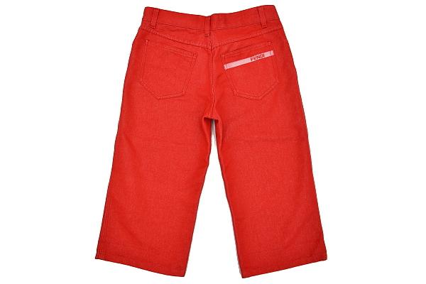 P616★FENDI jeans フェンディジーンズ★イタリア製 正規品 レッド赤色 刺繍入り ショート クロップドパンツ 43_画像6