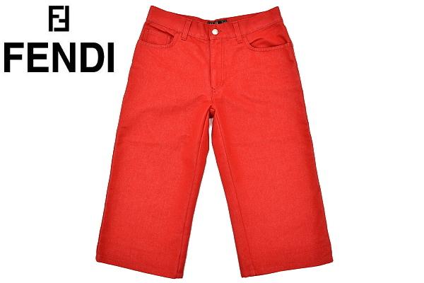 P616★FENDI jeans フェンディジーンズ★イタリア製 正規品 レッド赤色 刺繍入り ショート クロップドパンツ 43_画像1