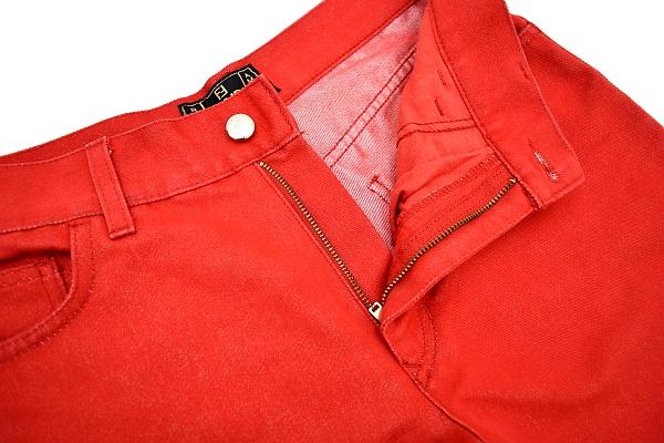 P616★FENDI jeans フェンディジーンズ★イタリア製 正規品 レッド赤色 刺繍入り ショート クロップドパンツ 43_画像4