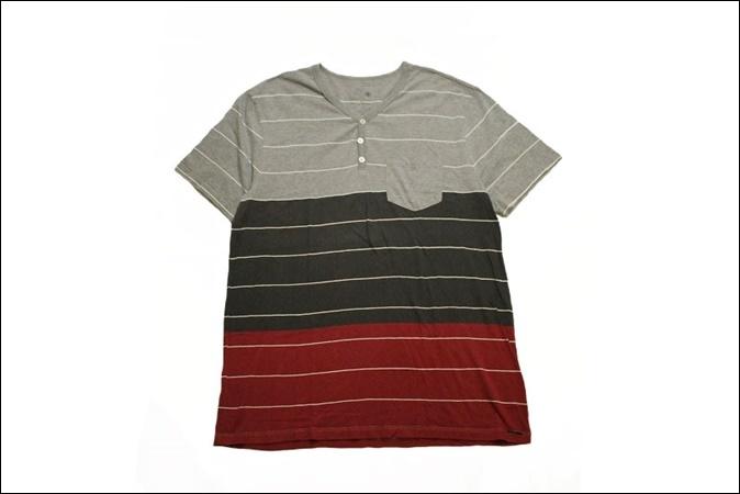 【X LARGE】 ON THE BYAS Vネック ボーダー Tシャツ ポケット ヘンリーネック ビンテージ ヴィンテージ USA 古着 オールド IB1054_画像1