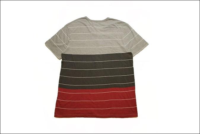 【X LARGE】 ON THE BYAS Vネック ボーダー Tシャツ ポケット ヘンリーネック ビンテージ ヴィンテージ USA 古着 オールド IB1054_画像2