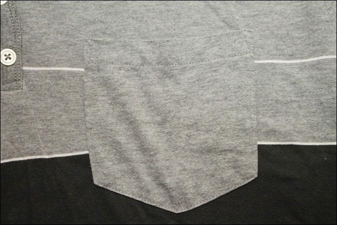 【X LARGE】 ON THE BYAS Vネック ボーダー Tシャツ ポケット ヘンリーネック ビンテージ ヴィンテージ USA 古着 オールド IB1054_画像3