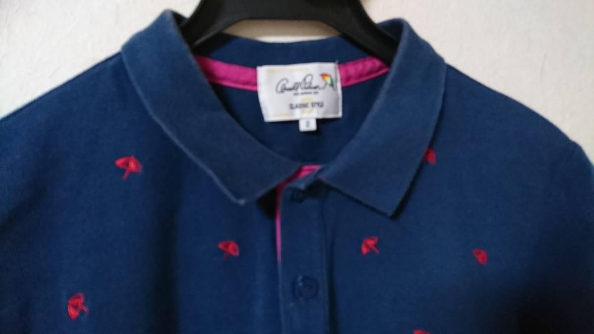 ☆アーノルドパーマー 男性用半袖ポロシャツ サイズ2(M相当)パラソル柄 珍しい色です。ダークブルー?青緑?☆_画像2