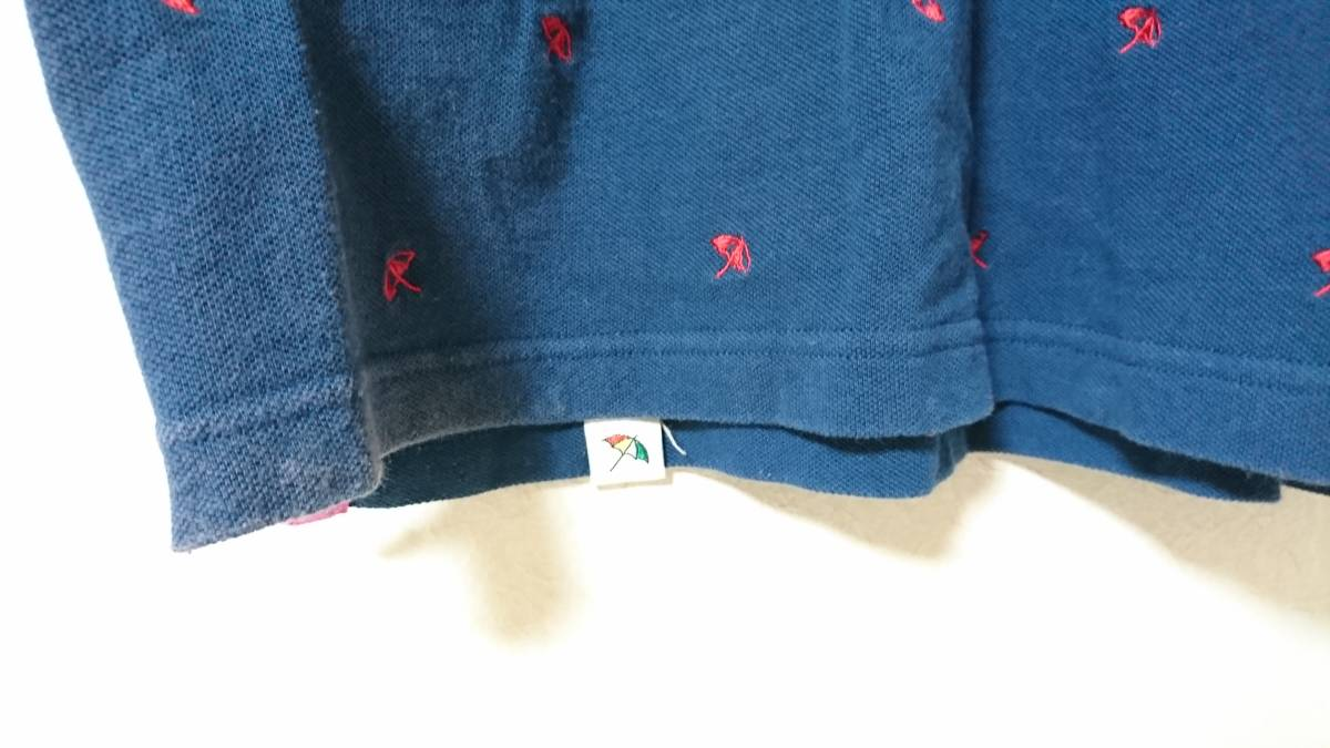 ☆アーノルドパーマー 男性用半袖ポロシャツ サイズ2(M相当)パラソル柄 珍しい色です。ダークブルー?青緑?☆_画像4