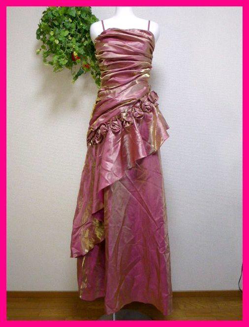 カラードレスM【美品】ピンクにゴールドがキラリ輝く! パーティドレス・キャバドレス・キャバ嬢アゲハ・パーティ・イベント・発表会等に