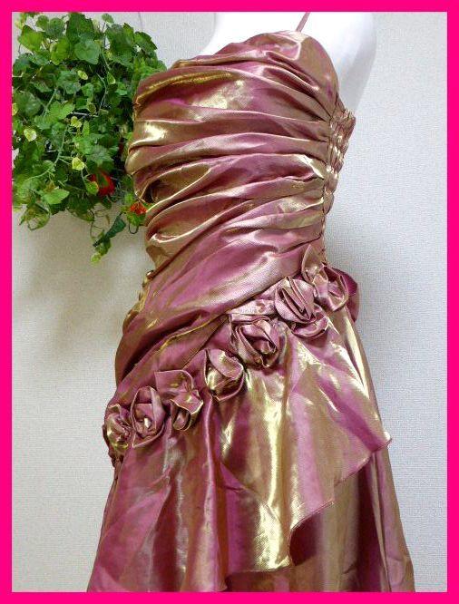 カラードレスM【美品】ピンクにゴールドがキラリ輝く! パーティドレス・キャバドレス・キャバ嬢アゲハ・パーティ・イベント・発表会等に_画像3