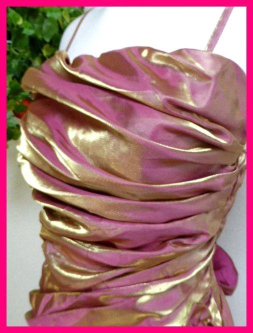 カラードレスM【美品】ピンクにゴールドがキラリ輝く! パーティドレス・キャバドレス・キャバ嬢アゲハ・パーティ・イベント・発表会等に_画像4