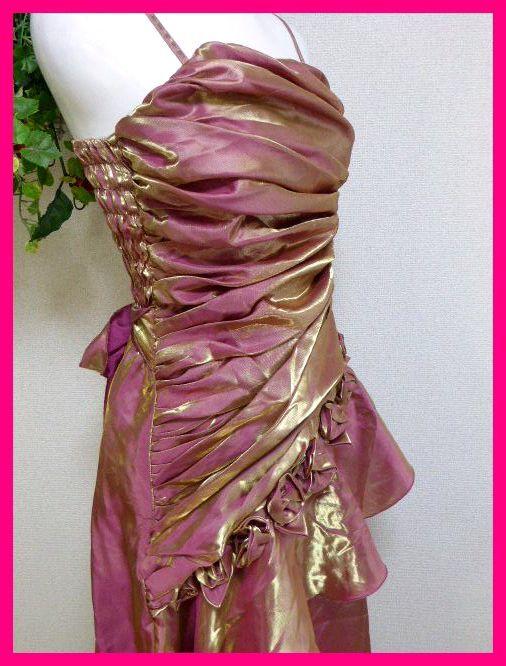 カラードレスM【美品】ピンクにゴールドがキラリ輝く! パーティドレス・キャバドレス・キャバ嬢アゲハ・パーティ・イベント・発表会等に_画像5