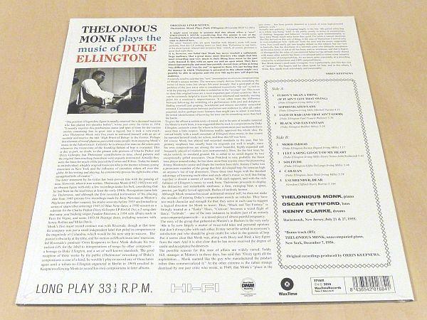 セロニアス・モンクThelonious Monk Plays The Music Of Duke Ellington限定リマスター180g重量盤未開封LPボーナス1曲追加Oscar Pettiford_画像2