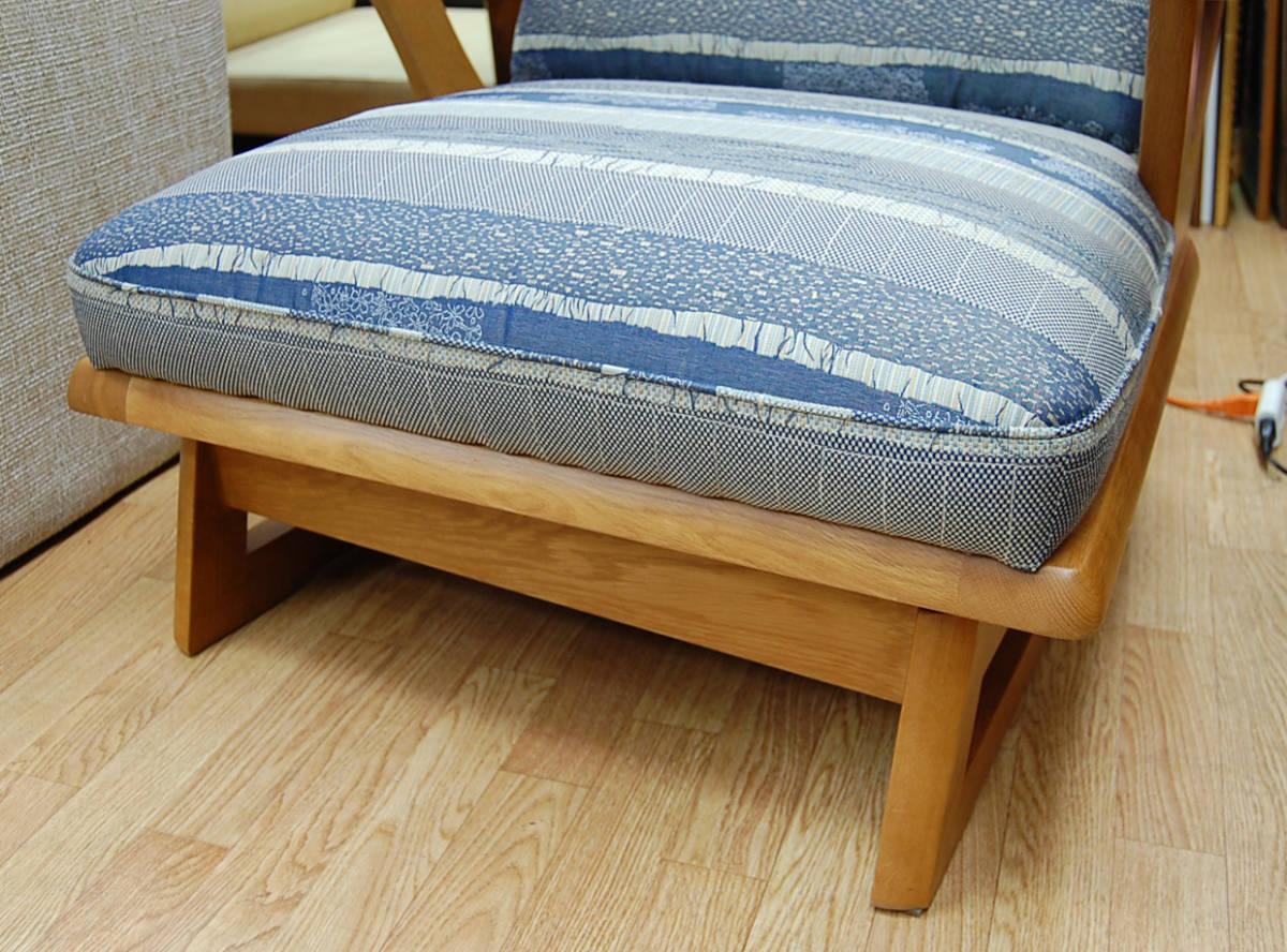 maruni/マルニ シングルソファ 360°回転 リビングチェア ラウンジチェア 椅子 木製 クッション 布地 札幌発_画像3