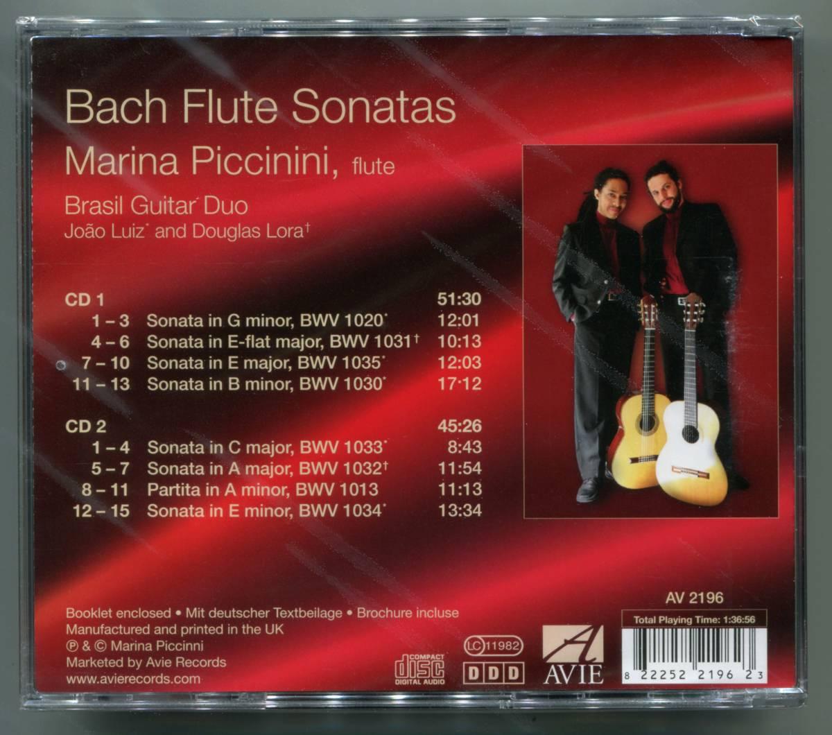 ☆送料込/未開封/ マリーナ・ピッチニーニ&ブラジル・ギター・デュオ Marina Piccinini & Brasil Guitar Duo / Bach Flute Sonatas 2CD_画像2