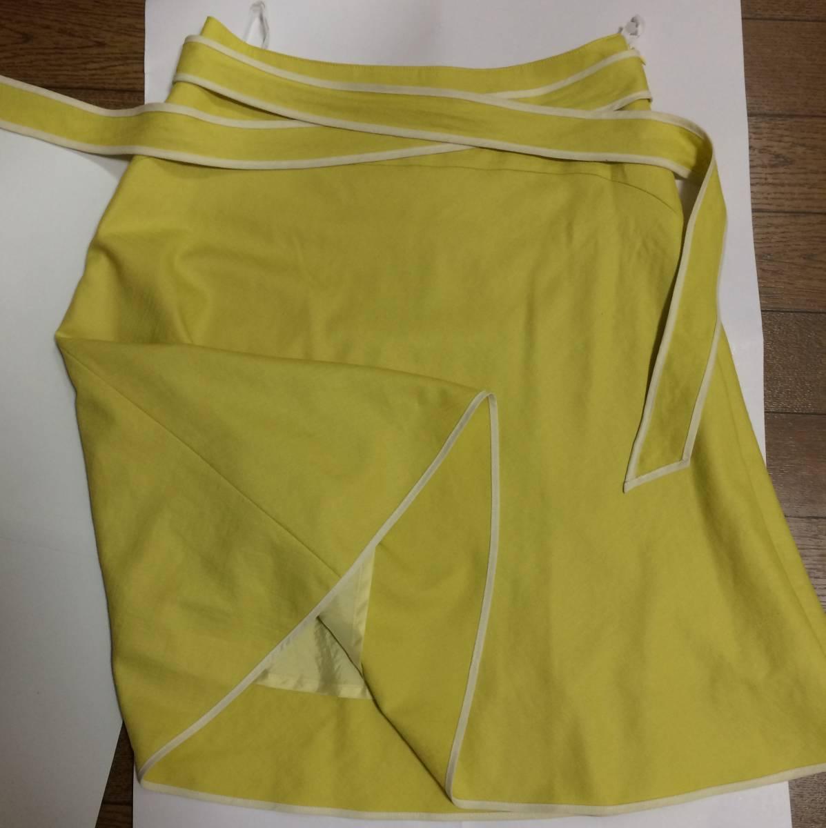 即決 美品 スカート sunauna スーナウーナ M 36 フレアスカート カナリアイエロー イエロー ウエストリボン ワールド 日本製_画像5