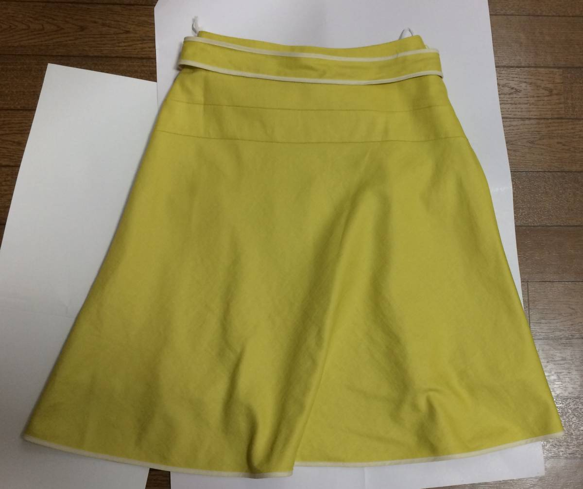 即決 美品 スカート sunauna スーナウーナ M 36 フレアスカート カナリアイエロー イエロー ウエストリボン ワールド 日本製_画像7