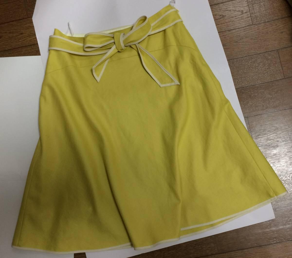 即決 美品 スカート sunauna スーナウーナ M 36 フレアスカート カナリアイエロー イエロー ウエストリボン ワールド 日本製_画像6