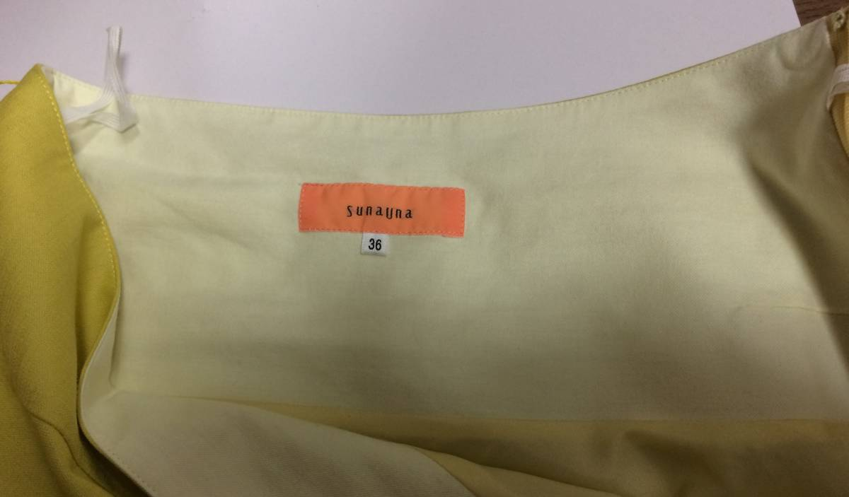即決 美品 スカート sunauna スーナウーナ M 36 フレアスカート カナリアイエロー イエロー ウエストリボン ワールド 日本製_画像3