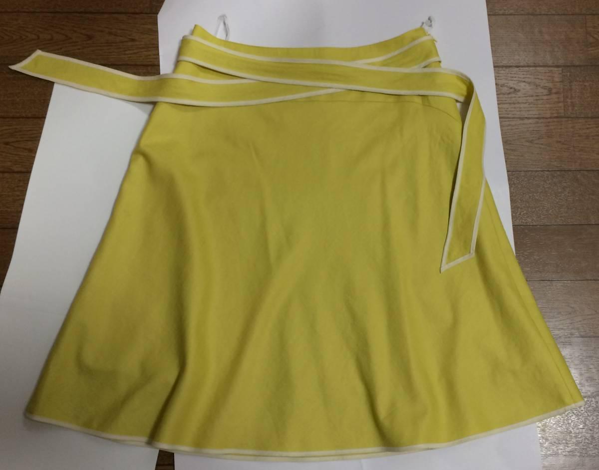即決 美品 スカート sunauna スーナウーナ M 36 フレアスカート カナリアイエロー イエロー ウエストリボン ワールド 日本製_画像1