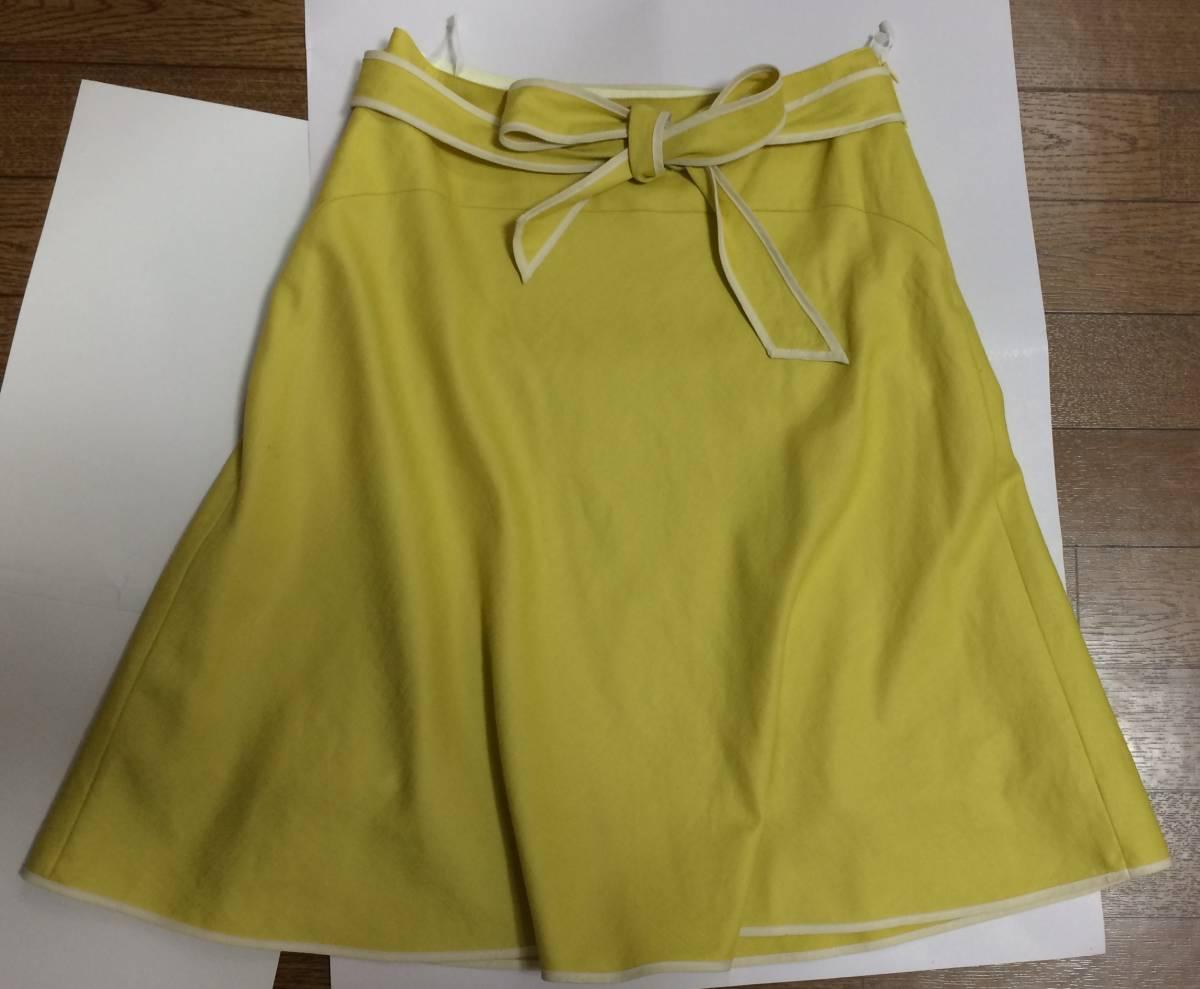 即決 美品 スカート sunauna スーナウーナ M 36 フレアスカート カナリアイエロー イエロー ウエストリボン ワールド 日本製_画像2