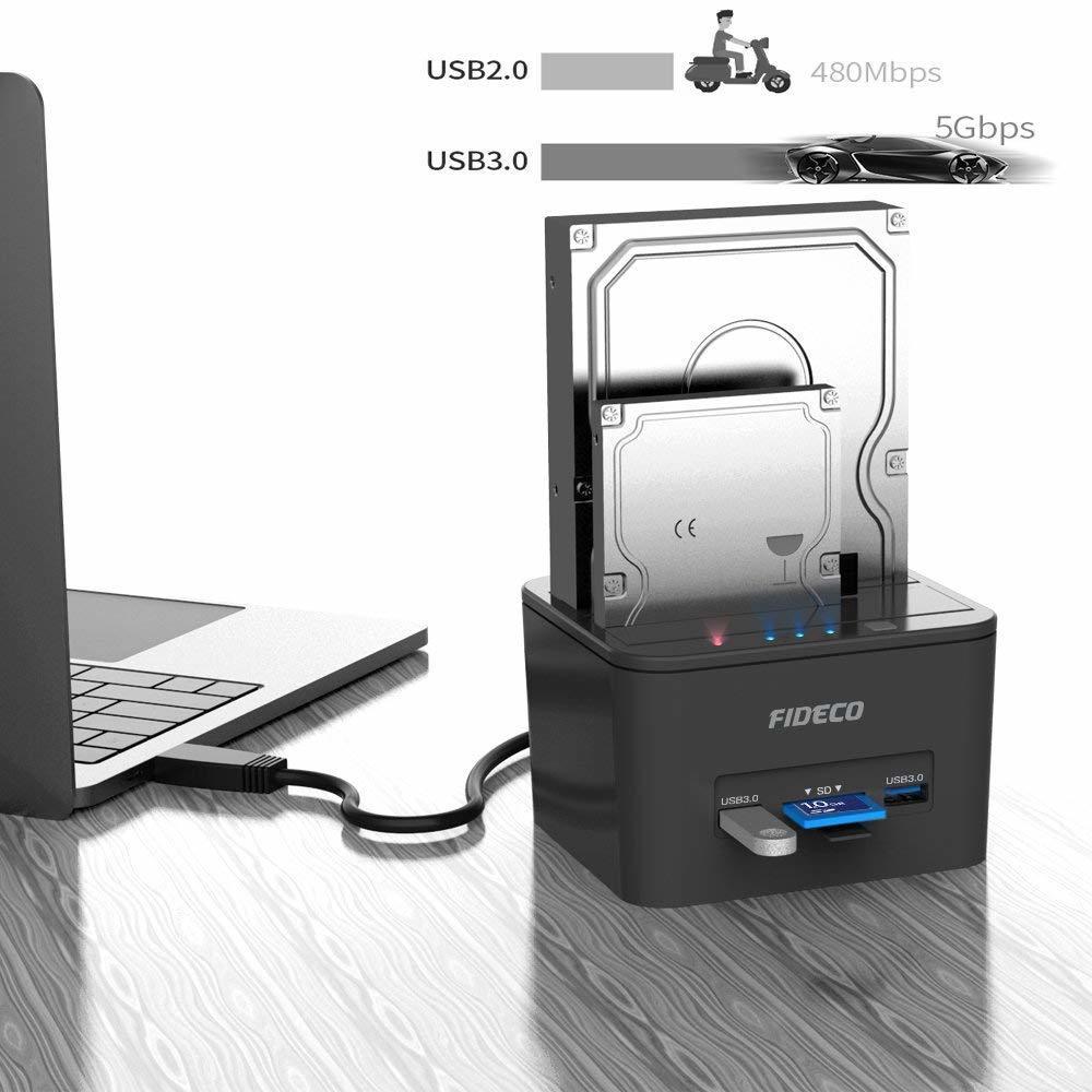 【新品 1円~】ハードドライブ ドッキングステーション USB 3.0 SDカード HDD ドックオフラインクローン機能 デュアルベイ ポイント消化_画像2
