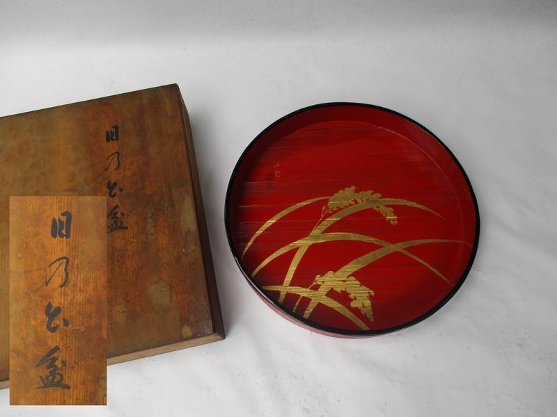 ■ 旧家蔵出し 盆 金蒔絵[コメ] 銘■ 天然木 米寿 祝い 漆器 木箱№3811■_径約42.5cm