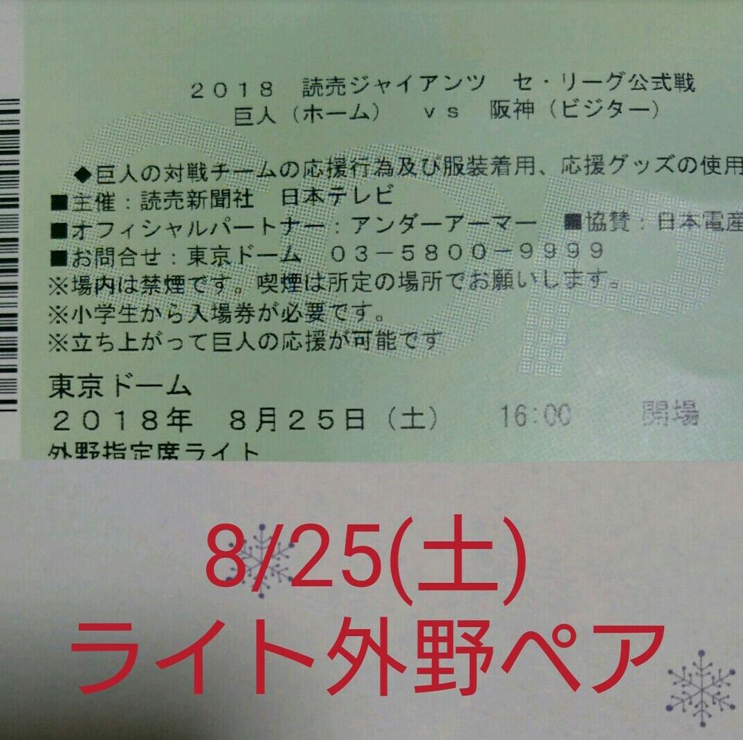 読売ジャイアンツ 公式戦 8/25 ライト外野指定席ペア