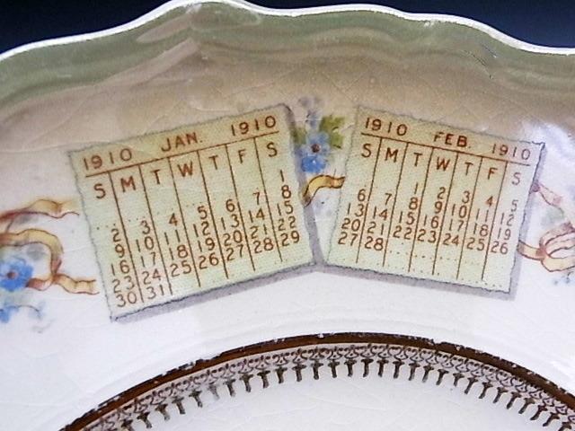 1910年 鐘を鳴らすエンジェル・カレンダー絵皿 ◆ 米国アンティーク_画像7
