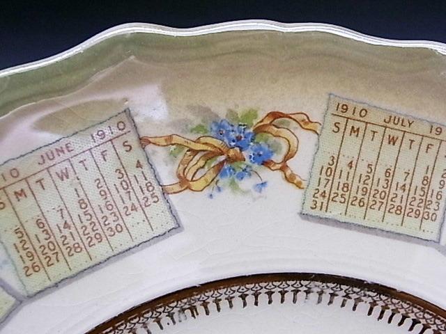 1910年 鐘を鳴らすエンジェル・カレンダー絵皿 ◆ 米国アンティーク_画像8