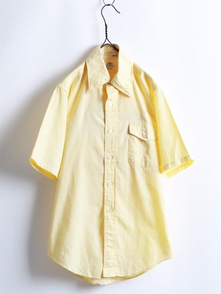 70s 希少サイズS ★ B.V.D. テーパード フィット 無地 半袖 コットン シャツ ( メンズ 男性 ) 70年代 ビンテージ 古着 黄色 BVD USED_画像1