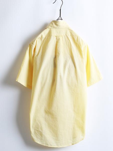 70s 希少サイズS ★ B.V.D. テーパード フィット 無地 半袖 コットン シャツ ( メンズ 男性 ) 70年代 ビンテージ 古着 黄色 BVD USED_画像2