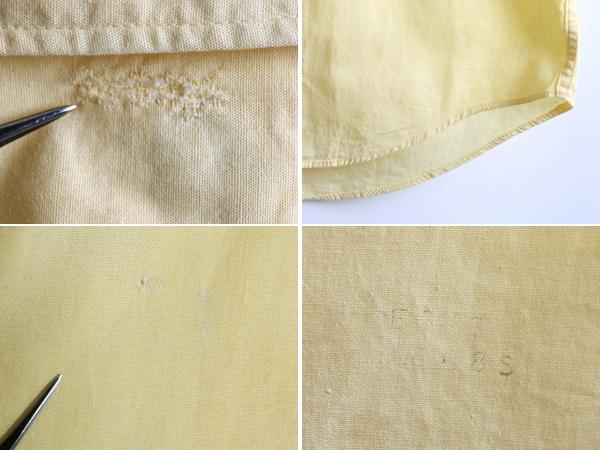 70s 希少サイズS ★ B.V.D. テーパード フィット 無地 半袖 コットン シャツ ( メンズ 男性 ) 70年代 ビンテージ 古着 黄色 BVD USED_画像9