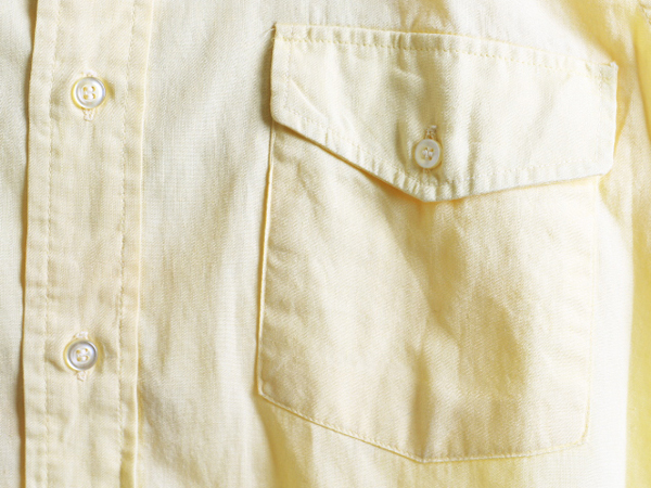 70s 希少サイズS ★ B.V.D. テーパード フィット 無地 半袖 コットン シャツ ( メンズ 男性 ) 70年代 ビンテージ 古着 黄色 BVD USED_画像5