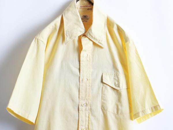 70s 希少サイズS ★ B.V.D. テーパード フィット 無地 半袖 コットン シャツ ( メンズ 男性 ) 70年代 ビンテージ 古着 黄色 BVD USED_画像3