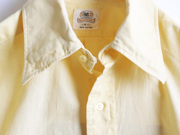 70s 希少サイズS ★ B.V.D. テーパード フィット 無地 半袖 コットン シャツ ( メンズ 男性 ) 70年代 ビンテージ 古着 黄色 BVD USED_画像7
