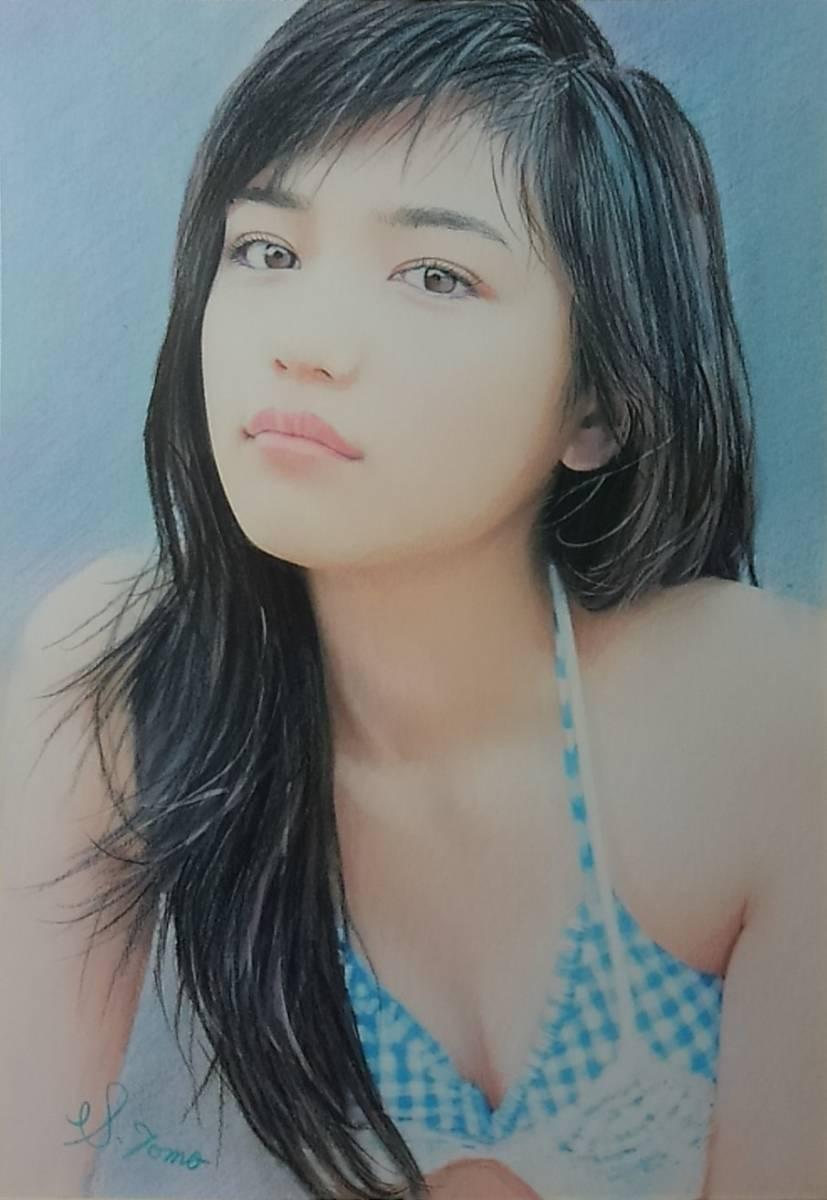 『作品481』S.Tomo氏直筆色鉛筆画 超美品 美人画 新品額装