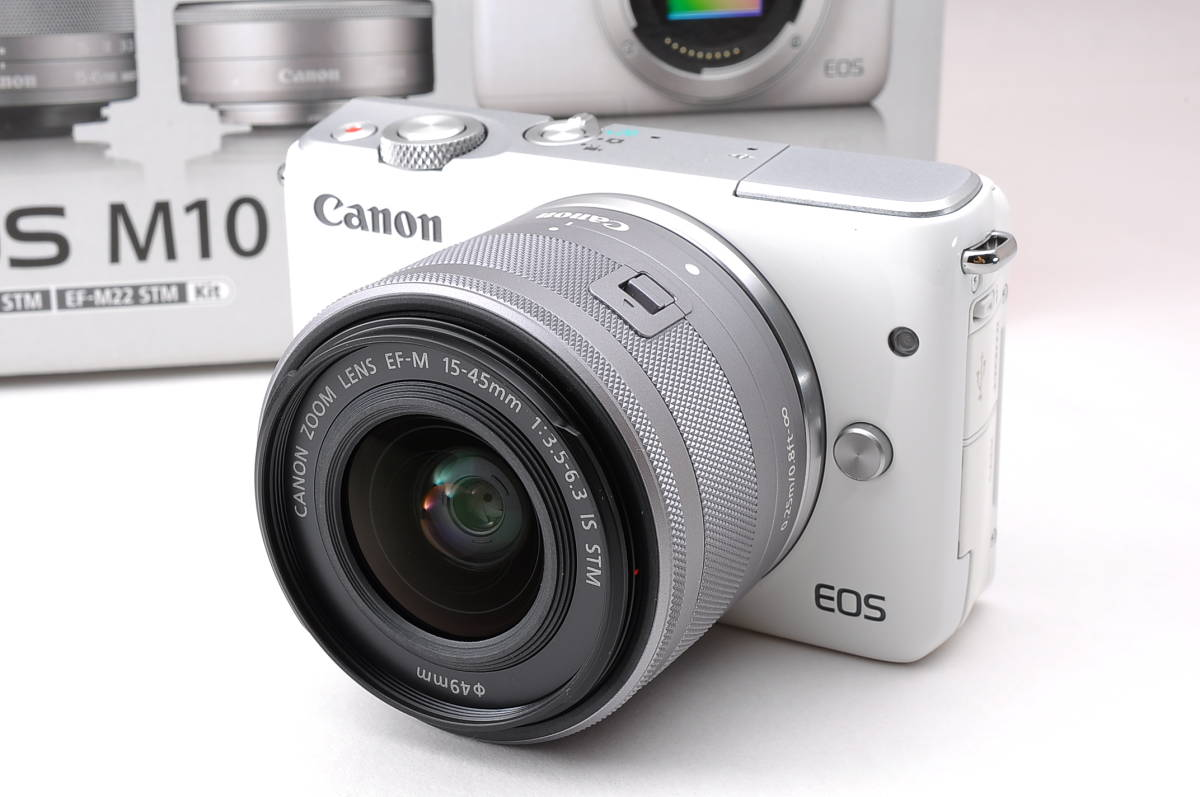 Almost New Goods Beautiful Canon Mirrorless Single Lens Eos M10 Ef M 15 45mm Is Stm White Camera