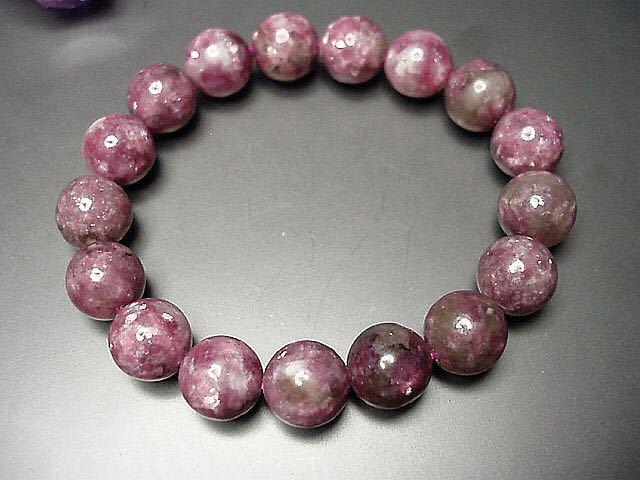 天然石4Aレピドライト薔薇雲母約12ミリ17粒数珠ブレス 石街_画像4
