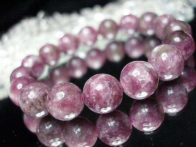 天然石4Aレピドライト薔薇雲母約12ミリ17粒数珠ブレス 石街_画像1