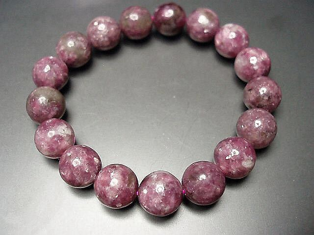 天然石4Aレピドライト薔薇雲母約12ミリ17粒数珠ブレス 石街_画像3