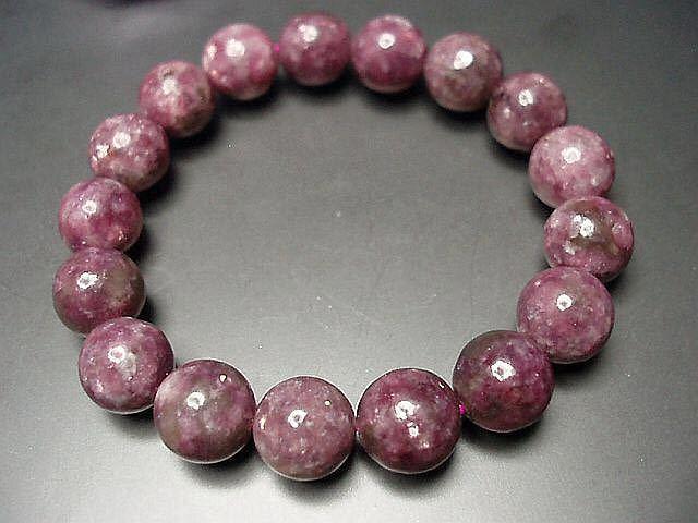 天然石4Aレピドライト薔薇雲母約12ミリ17粒数珠ブレス 石街_画像2