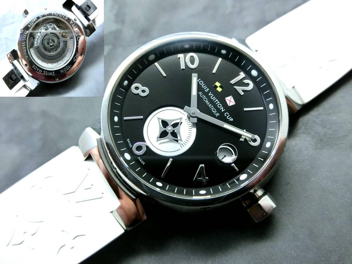 【新品ラバーベルト付!美品!自動巻!激レア】ルイヴィトン 腕時計 タンブールルイヴィトンカップ Q113T メンズサイズ louisvuitton
