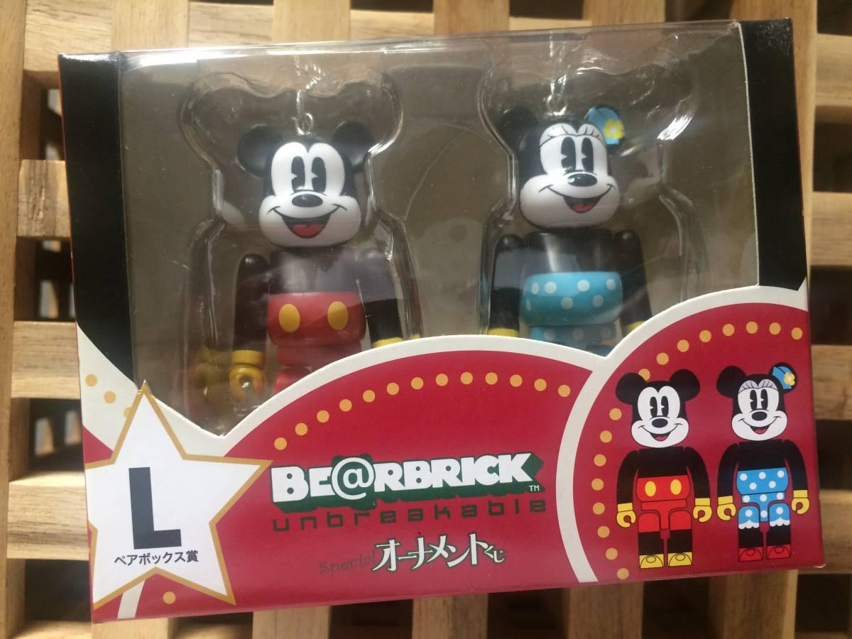 ディズニー ベアブリック/BE@RBRICK Special オーナメントくじ ペアボックス賞 L ミッキーマウス パイカット&ミニーマウス パイカット Ver.