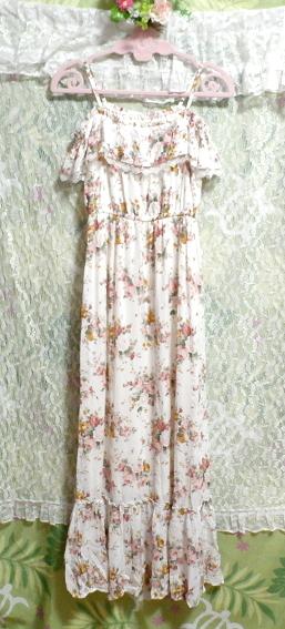 白ホワイト花柄キャミソールフリルロングスカートマキシワンピースネグリジェ White flower camisole frill skirt maxi onepiece negligee_画像6