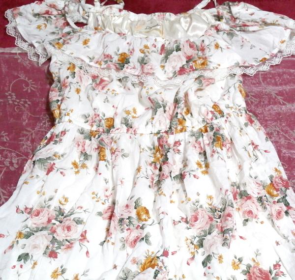白ホワイト花柄キャミソールフリルロングスカートマキシワンピースネグリジェ White flower camisole frill skirt maxi onepiece negligee_画像2