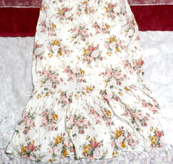 白ホワイト花柄キャミソールフリルロングスカートマキシワンピースネグリジェ White flower camisole frill skirt maxi onepiece negligee_画像3