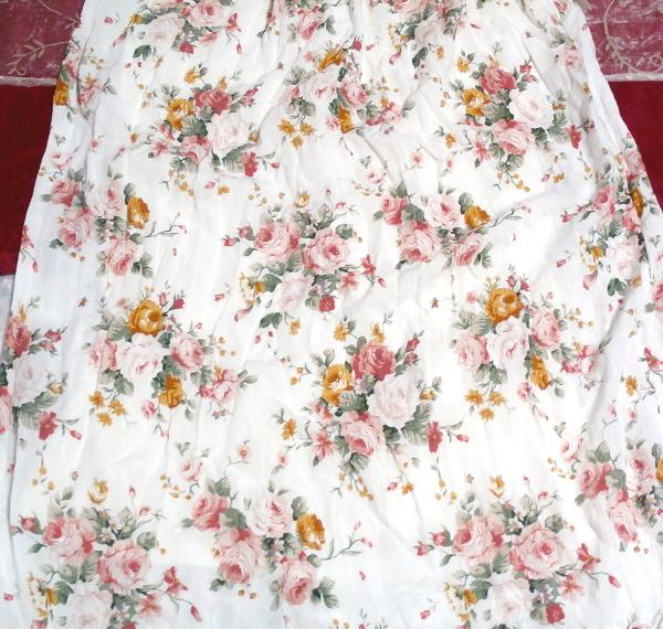 白ホワイト花柄キャミソールフリルロングスカートマキシワンピースネグリジェ White flower camisole frill skirt maxi onepiece negligee_画像4