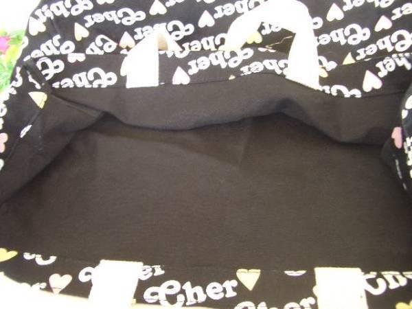 ●cher シェル 贅沢な柄 華やか 軽い 実用的 美感 手提げ かわいい デカ トート バッグ お買い物 お出かけ 遊びにも お洒落 黒 可愛い ロゴ_画像2