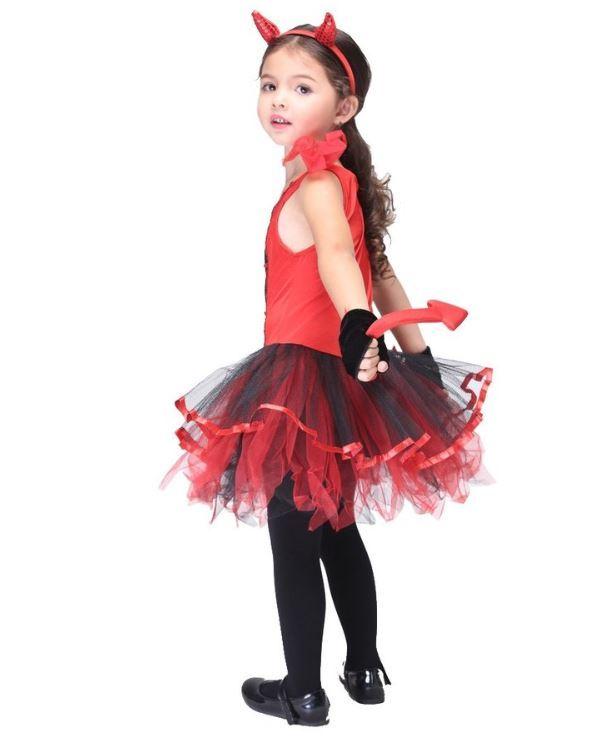 ハロウィン コスプレ 仮装 衣装 キッズ 女の子 子供服 デビル 悪魔 魔女 コスチューム かわいい セクシー 赤_画像3
