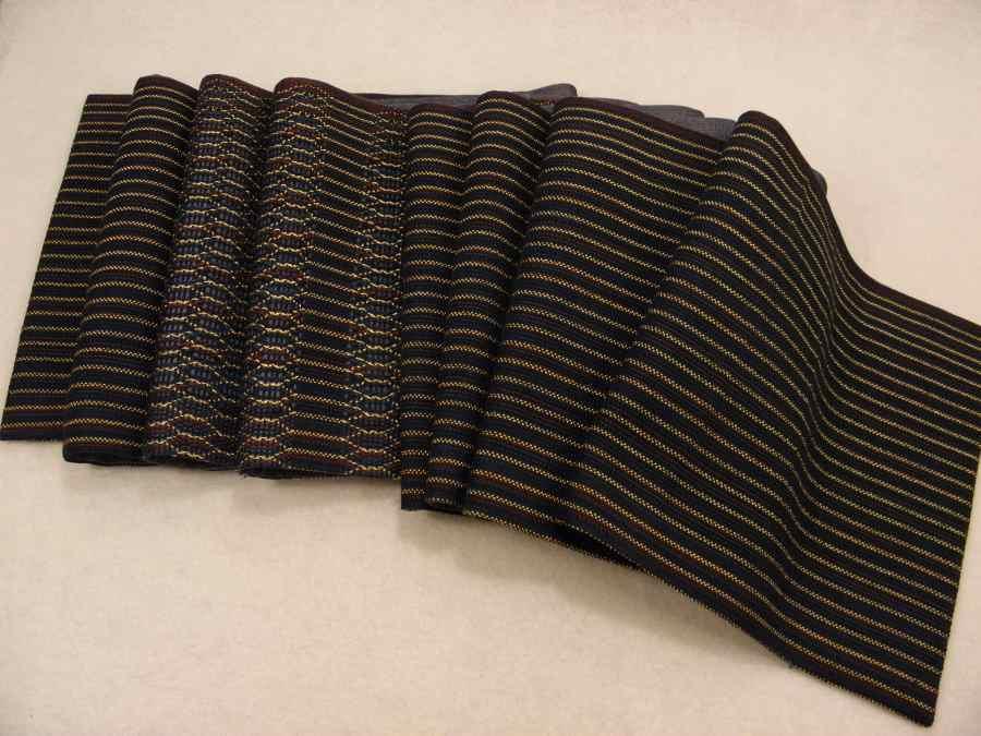 【帯喜楽】マ5-13●高級袋帯●未使用品●両面仕様●縦縞に透かし段縞柄_画像2