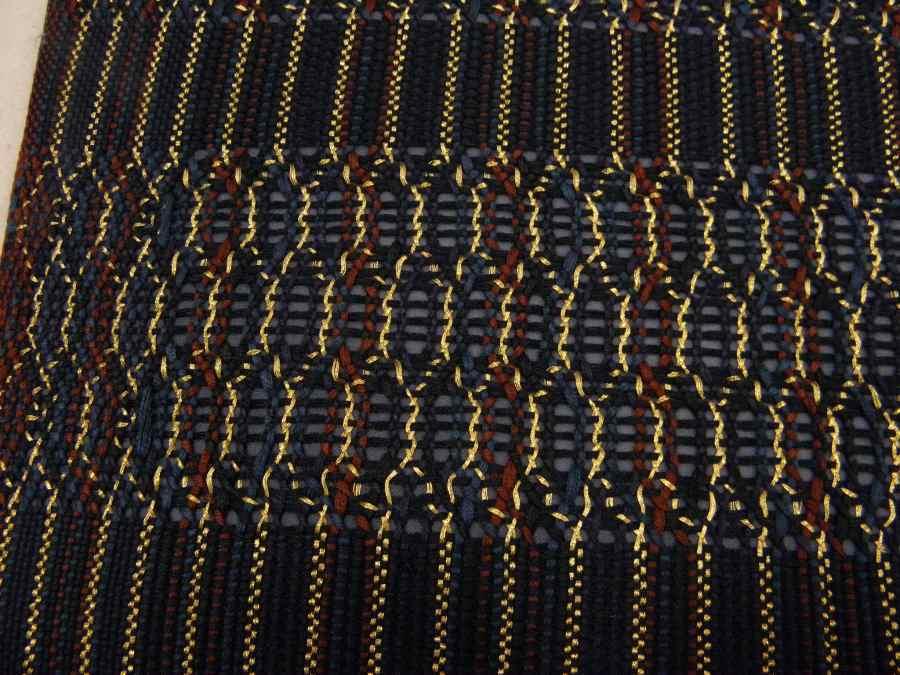 【帯喜楽】マ5-13●高級袋帯●未使用品●両面仕様●縦縞に透かし段縞柄_画像5
