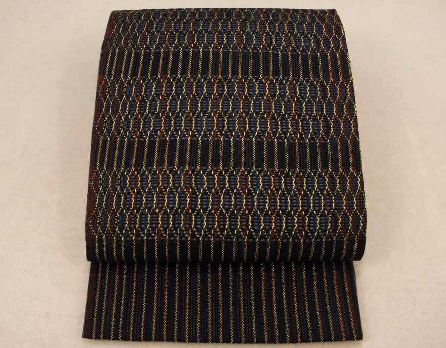 【帯喜楽】マ5-13●高級袋帯●未使用品●両面仕様●縦縞に透かし段縞柄_お洒落な透かし柄の高級袋帯です