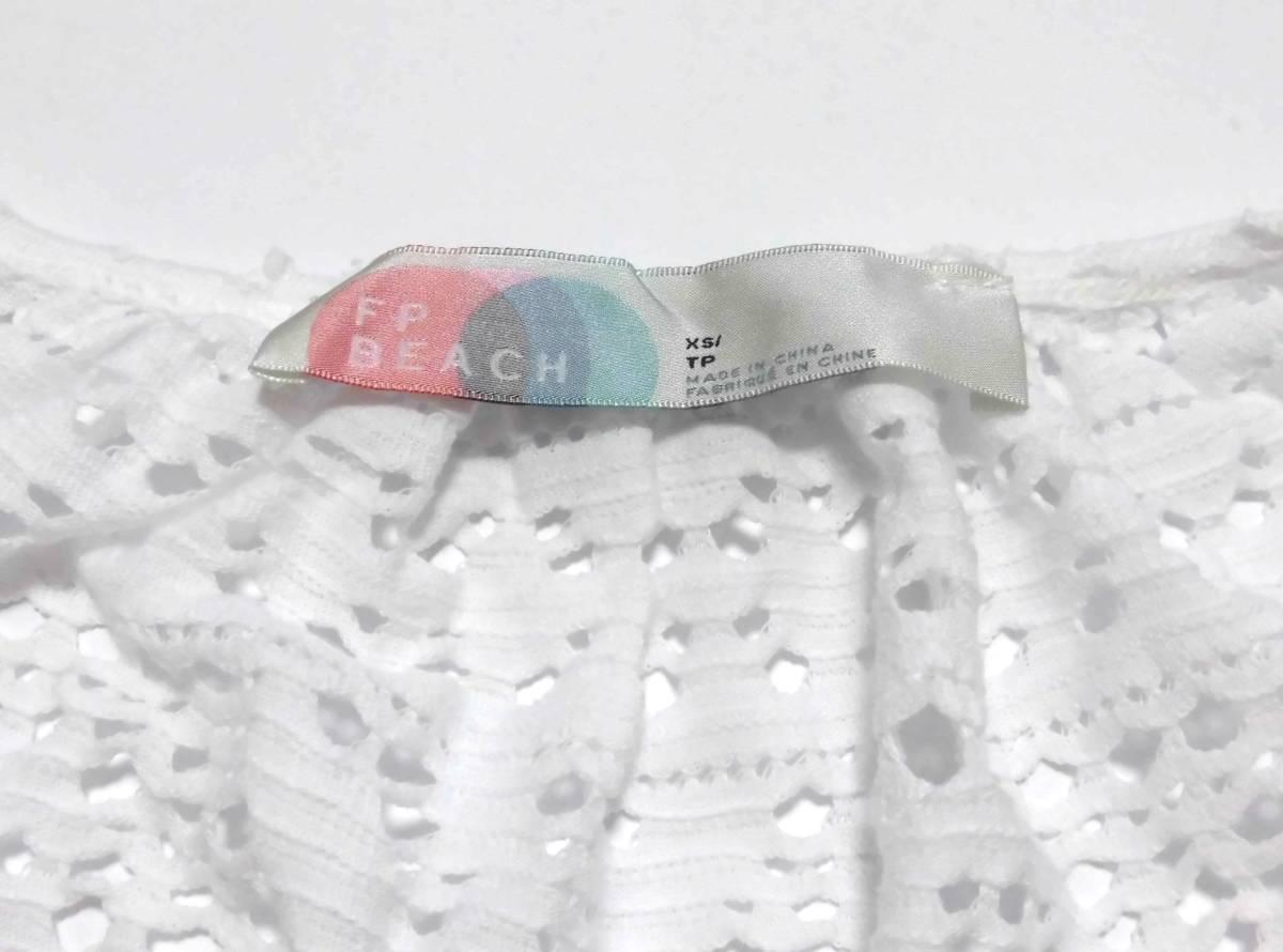 〔美品 送料無料!〕 FP Beach エフピー ビーチ ホワイト レース 半袖 ブラウス 《 カットソー シャツ ふんわり袖 インナー付き 》